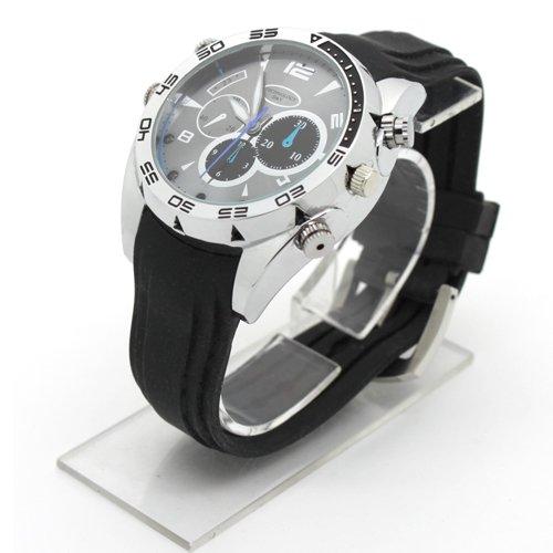 Flylinktech-16GB-HD-Impermeabile-Spy-Watch-Orologio-Spia-Videocamera-Nascosta-Visione-Notturna-Cinturino-Nero-Quadrante-Argento-0-1