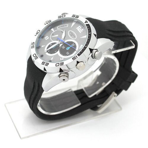 Flylinktech-16GB-HD-Impermeabile-Spy-Watch-Orologio-Spia-Videocamera-Nascosta-Visione-Notturna-Cinturino-Nero-Quadrante-Argento-0-2