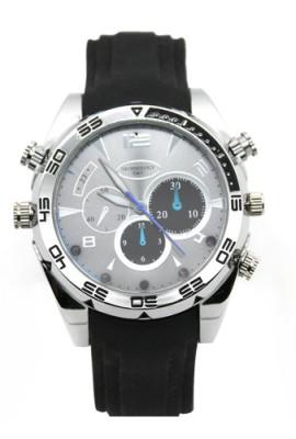 Flylinktech-16GB-HD-Impermeabile-Spy-Watch-Orologio-Spia-Videocamera-Nascosta-Visione-Notturna-Cinturino-Nero-Quadrante-Argento-0