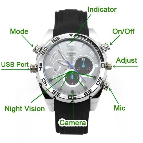 Flylinktech-16GB-HD-Impermeabile-Spy-Watch-Orologio-Spia-Videocamera-Nascosta-Visione-Notturna-Cinturino-Nero-Quadrante-Argento-0-5