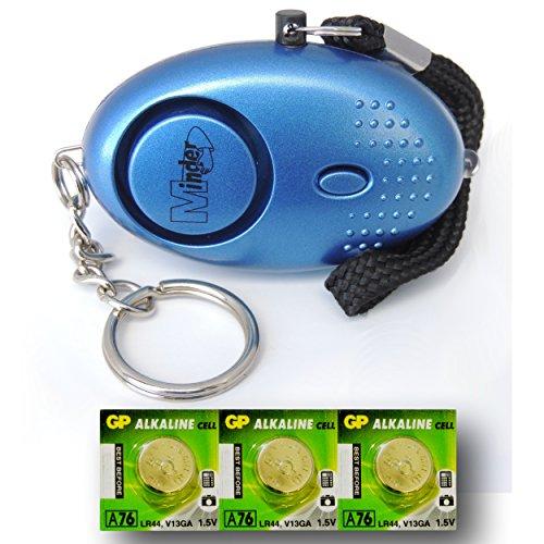 Metallico-Blu-Mini-Minder-Forte-Personale-Personali-Panico-Stupro-Attacco-di-Sicurezza-Sirene-Alarme-140dB-con-torcia-Set-di-ricambio-delle-batterie-SPEDIZIONE-GRATUITA-0