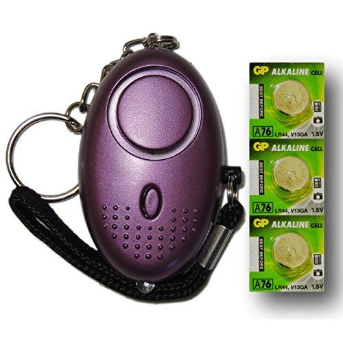 Metallico-Porpora-Mini-Minder-Forte-Personale-Personali-Panico-Stupro-Attacco-di-Sicurezza-Sirene-Alarme-140dB-con-torcia-Set-di-ricambio-delle-batterie-SPEDIZIONE-GRATUITA-0