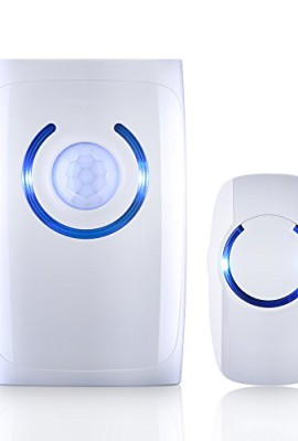 VicTsing-Allarme-Wireless-Campanello-Senza-Fili-con-Sensore-PIR-con-36-Carillon-Luce-di-Sensore-di-Movimento-Emergenza-con-5-lampadine-a-LED-Alimentato-da-Batterie-non-Incluse-per-Casa-Ufficio-Bianco-0